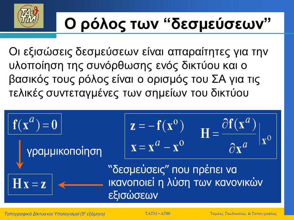 """Τοπογραφικά Δίκτυα και Υπολογισμοί (5 ο εξάμηνο) ΤΑΤΜ  ΑΠΘ Τομέας Γεωδαισίας & Τοπογραφίας Ο ρόλος των """"δεσμεύσεων"""" Οι εξισώσεις δεσμεύσεων είναι απα"""