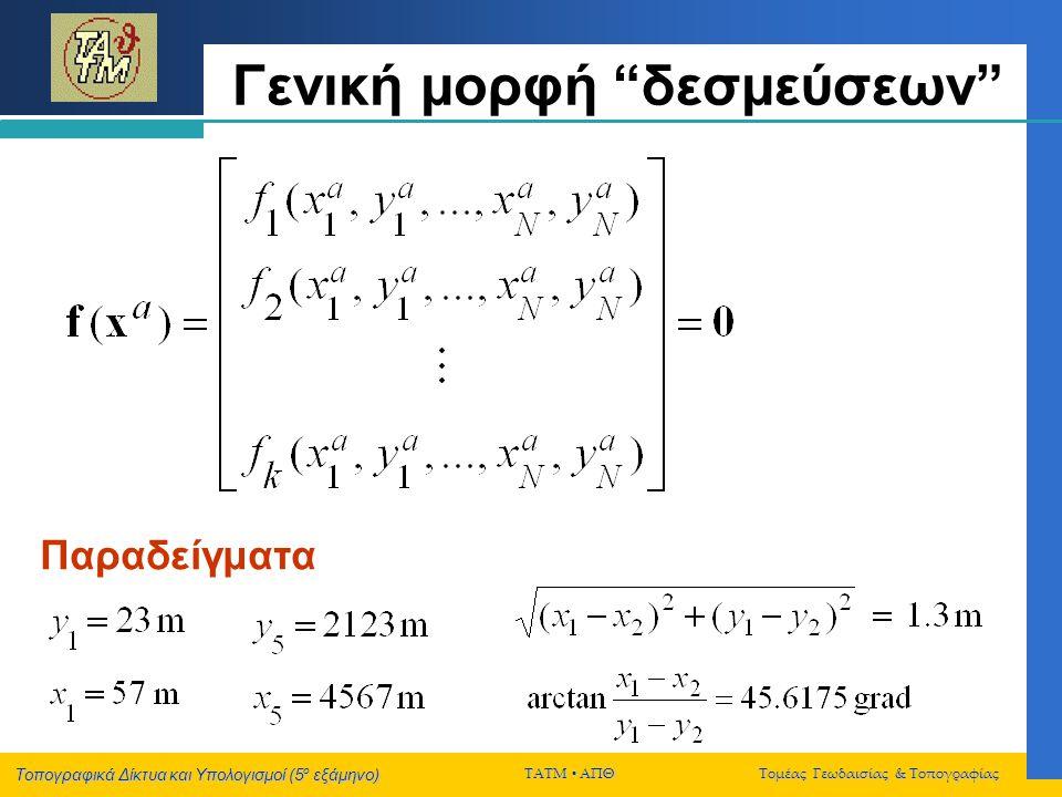 """Τοπογραφικά Δίκτυα και Υπολογισμοί (5 ο εξάμηνο) ΤΑΤΜ  ΑΠΘ Τομέας Γεωδαισίας & Τοπογραφίας Γενική μορφή """"δεσμεύσεων"""" Παραδείγματα"""