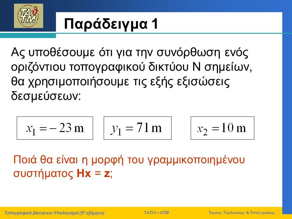 Τοπογραφικά Δίκτυα και Υπολογισμοί (5 ο εξάμηνο) ΤΑΤΜ  ΑΠΘ Τομέας Γεωδαισίας & Τοπογραφίας Aς υποθέσουμε ότι για την συνόρθωση ενός οριζόντιου τοπογρ