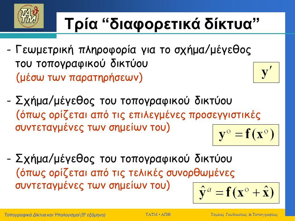 Τοπογραφικά Δίκτυα και Υπολογισμοί (5 ο εξάμηνο) ΤΑΤΜ  ΑΠΘ Τομέας Γεωδαισίας & Τοπογραφίας Συνόρθωση με ελάχιστες δεσμεύσεις Βασικό χαρακτηριστικό Η εσωτερική γεωμετρία του συνορθωμένου δικτύου θα είναι η ίδια, ανεξάρτητα από το είδος των ελαχίστων δεσμεύσεων Αναλλοίωτα μεγέθη: - συνορθωμένες παρατηρήσεις & σφάλματα - πίνακες μεταβλ/συμμεταβλ.