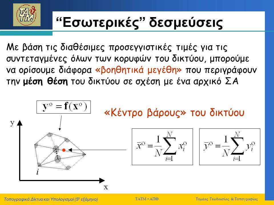 """Τοπογραφικά Δίκτυα και Υπολογισμοί (5 ο εξάμηνο) ΤΑΤΜ  ΑΠΘ Τομέας Γεωδαισίας & Τοπογραφίας """"Εσωτερικές"""" δεσμεύσεις x y «Κέντρο βάρους» του δικτύου i"""