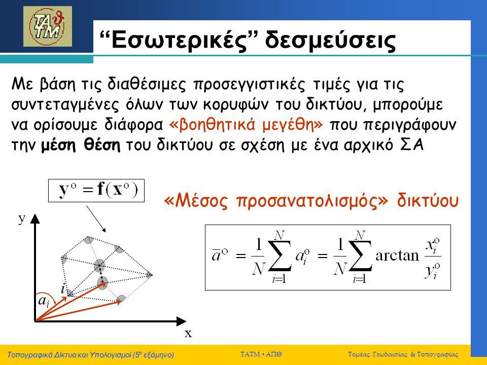 """Τοπογραφικά Δίκτυα και Υπολογισμοί (5 ο εξάμηνο) ΤΑΤΜ  ΑΠΘ Τομέας Γεωδαισίας & Τοπογραφίας """"Εσωτερικές"""" δεσμεύσεις x y «Μέσος προσανατολισμός» δικτύο"""