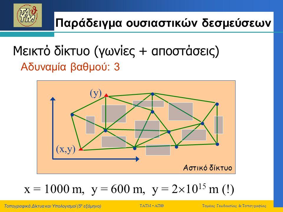 Τοπογραφικά Δίκτυα και Υπολογισμοί (5 ο εξάμηνο) ΤΑΤΜ  ΑΠΘ Τομέας Γεωδαισίας & Τοπογραφίας Παράδειγμα ουσιαστικών δεσμεύσεων           (x,y