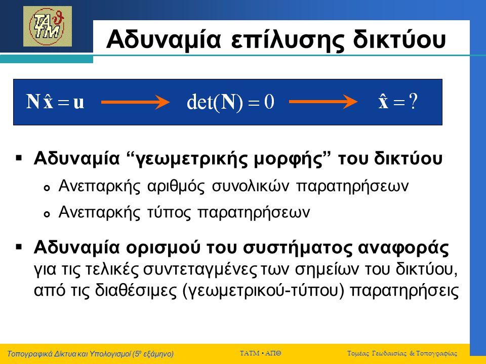 Τοπογραφικά Δίκτυα και Υπολογισμοί (5 ο εξάμηνο) ΤΑΤΜ  ΑΠΘ Τομέας Γεωδαισίας & Τοπογραφίας Παράδειγμα 2 Aς υποθέσουμε ότι για την συνόρθωση ενός οριζόντιου τοπογραφικού δικτύου Ν σημείων, θα χρησιμοποιήσουμε τις εξής εξισώσεις δεσμεύσεων: Ποιά θα είναι η μορφή του γραμμικοποιημένου συστήματος Hx = z;