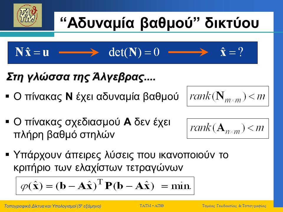 Τοπογραφικά Δίκτυα και Υπολογισμοί (5 ο εξάμηνο) ΤΑΤΜ  ΑΠΘ Τομέας Γεωδαισίας & Τοπογραφίας Εσωτερικές δεσμεύσεις x y Χρήση δεσμεύσεων για τον ορισμό του ΣΑ (διατήρηση της «μέσης θέσης» του δικτύου) 2 1 2 1 Οι διορθώσεις των προσεγγιστικών συντεταγμένων είναι τέτοιες ώστε να ικανοποιούνται οι «εσωτερικές» δεσμεύσεις 3 3 ● ●
