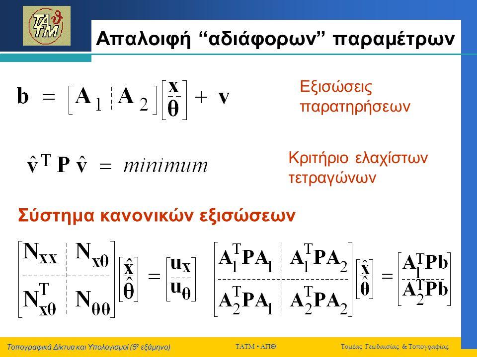 Τοπογραφικά Δίκτυα και Υπολογισμοί (5 ο εξάμηνο) ΤΑΤΜ  ΑΠΘ Τομέας Γεωδαισίας & Τοπογραφίας Αδυναμία βαθμού δικτύου θέση  Η αδυναμία βαθμού ενός δικτύου σχετίζεται με την «αδυναμία» των τοπογραφικών παρατηρήσεων να προσδιορίσουν την θέση του δικτύου ως προς κάποιο ΣΑ εσωτερική γεωμετρία του  Οι διαθέσιμες παρατηρήσεις σε ένα δίκτυο περιέχουν πληροφορία μόνο για την εσωτερική γεωμετρία του (σχήμα, μέγεθος)  Η αδυναμία βαθμού ενός δικτύου είναι ίση με τους βαθμούς ελευθερίας του ΣΑ (*)