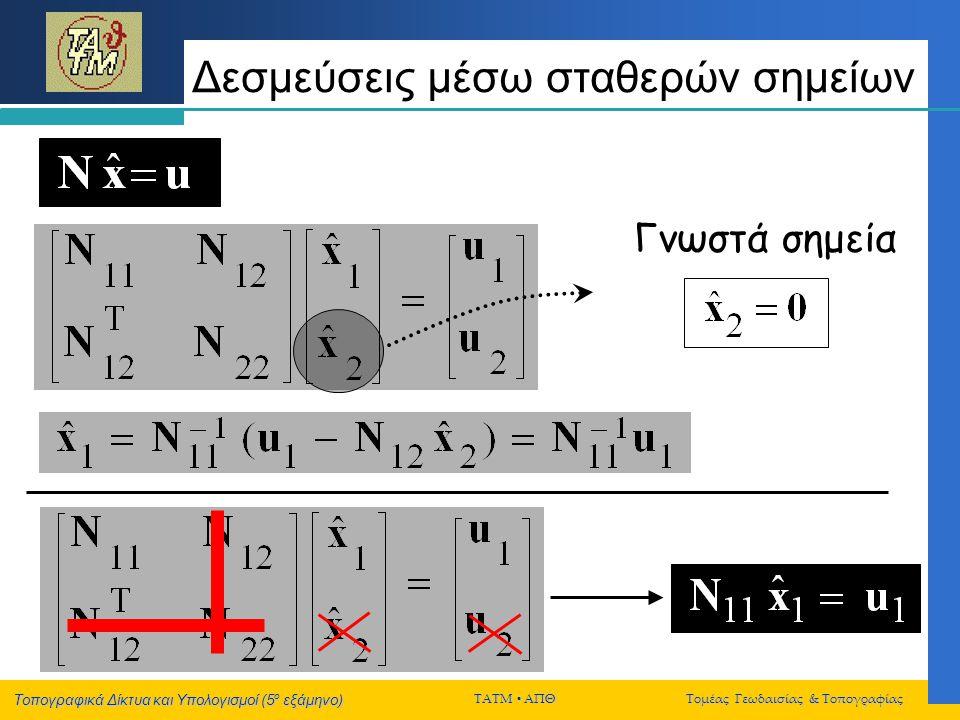 Τοπογραφικά Δίκτυα και Υπολογισμοί (5 ο εξάμηνο) ΤΑΤΜ  ΑΠΘ Τομέας Γεωδαισίας & Τοπογραφίας Δεσμεύσεις μέσω σταθερών σημείων Γνωστά σημεία