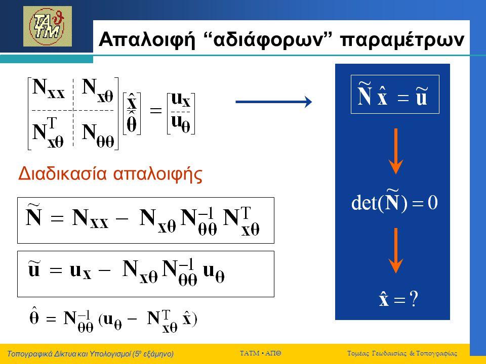 Τοπογραφικά Δίκτυα και Υπολογισμοί (5 ο εξάμηνο) ΤΑΤΜ  ΑΠΘ Τομέας Γεωδαισίας & Τοπογραφίας Κατηγορίες δεσμεύσεων Ελάχιστες δεσμεύσεις (ο αριθμός τους είναι ίσος με την αδυναμία βαθμού του δικτύου) Πλεονάζουσες δεσμεύσεις (ο αριθμός τους είναι μεγαλύτερος από την αδυναμία βαθμού του δικτύου) μη-ουσιαστικές ουσιαστικές