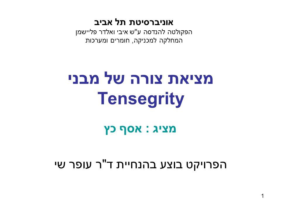 1 מציאת צורה של מבני Tensegrity מציג : אסף כץ הפרויקט בוצע בהנחיית ד