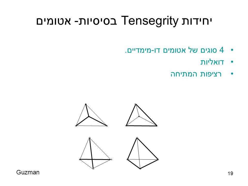 19 יחידות Tensegrity בסיסיות- אטומים 4 סוגים של אטומים דו-מימדיים. דואליות רציפות המתיחה Guzman