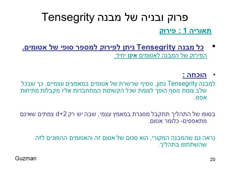 20 פרוק ובניה של מבנה Tensegrity כל מבנה Tensegrity ניתן לפירוק למספר סופי של אטומים. הפירוק של המבנה לאטומים אינו יחיד. הוכחה : למבנה Tensegrity נתון