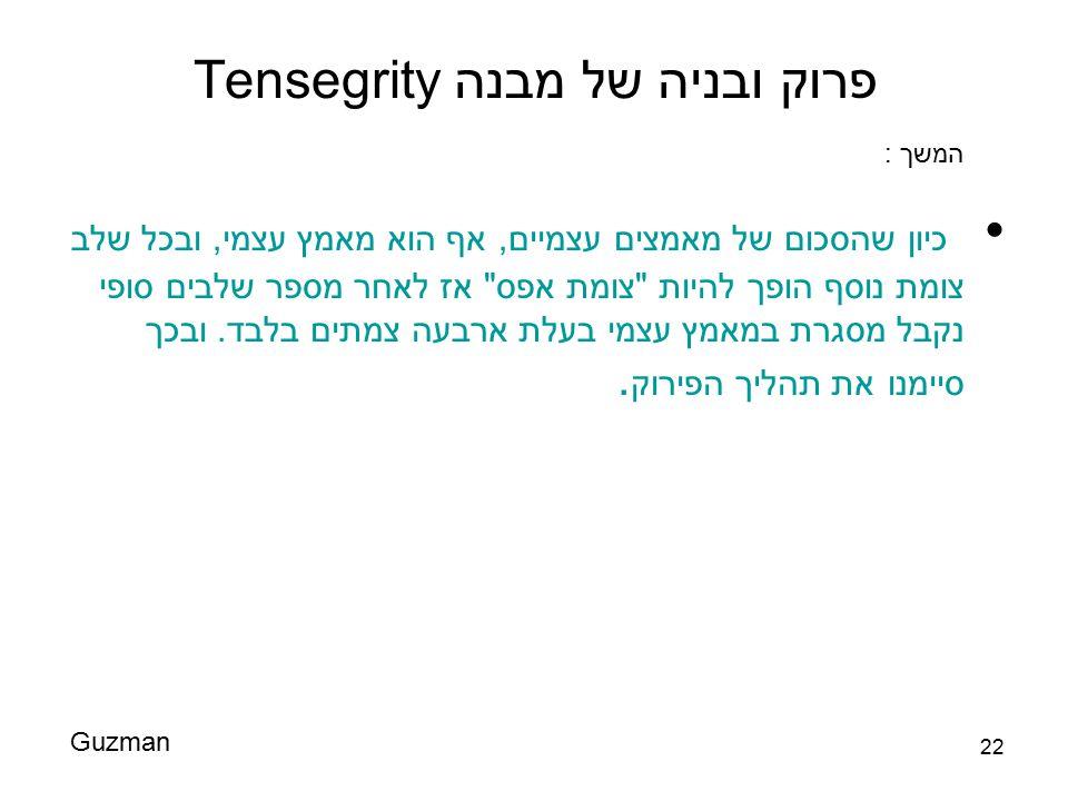 22 פרוק ובניה של מבנה Tensegrity כיון שהסכום של מאמצים עצמיים, אף הוא מאמץ עצמי, ובכל שלב צומת נוסף הופך להיות