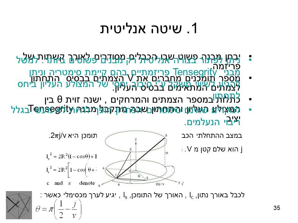 35 1. שיטה אנליטית יבחן מבנה פשוט שבו הכבלים מסודרים לאורך קשתות של פריזמה. מספר תומכנים מחברים את V הצמתים בבסיס התחתון לצמתים המתאימים בבסיס העליון.