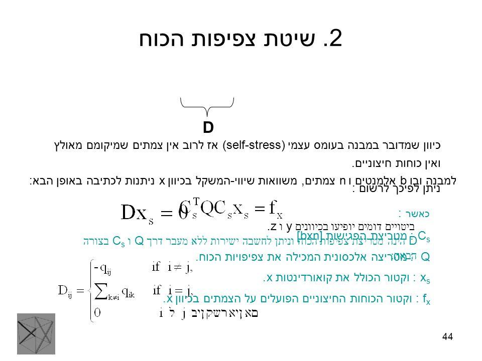44 2. שיטת צפיפות הכוח למבנה ובו b אלמנטים ו n צמתים, משוואות שיווי-המשקל בכיוון x ניתנות לכתיבה באופן הבא: כאשר : C s : מטריצת הפגישות [bxn] Q : מטרי