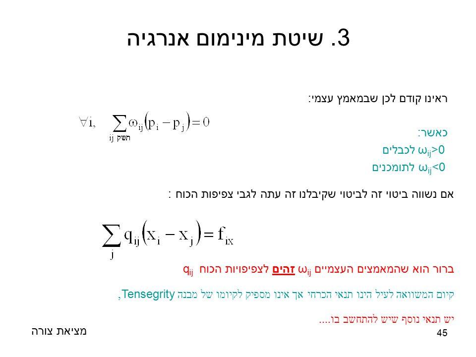 45 ראינו קודם לכן שבמאמץ עצמי: כאשר: ω ij >0 לכבלים ω ij <0 לתומכנים מציאת צורה 3. שיטת מינימום אנרגיה אם נשווה ביטוי זה לביטוי שקיבלנו זה עתה לגבי צפ