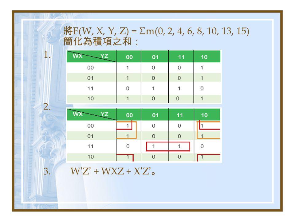將 F(W, X, Y, Z) = Σm(0, 2, 4, 6, 8, 10, 13, 15) 簡化為積項之和: 1. 2. 3. W ' Z ' + WXZ + X ' Z ' 。