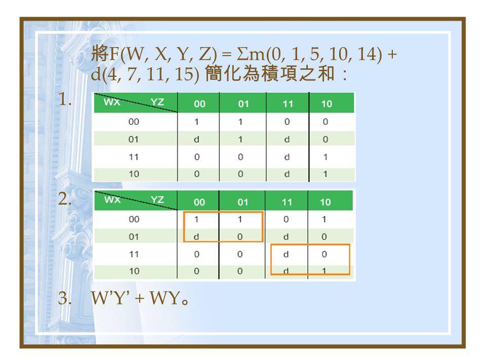 將 F(W, X, Y, Z) = Σm(0, 1, 5, 10, 14) + d(4, 7, 11, 15) 簡化為積項之和: 1. 2. 3.W ' Y ' + WY 。