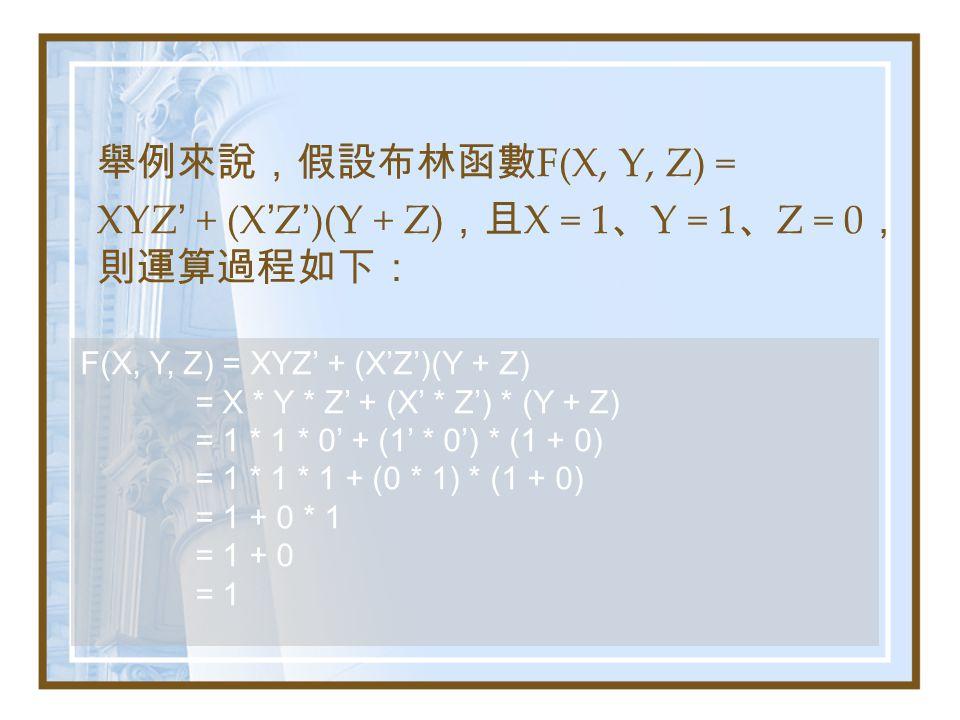 舉例來說,假設布林函數 F(X, Y, Z) = XYZ ' + (X ' Z ' )(Y + Z) ,且 X = 1 、 Y = 1 、 Z = 0 , 則運算過程如下: F(X, Y, Z) = XYZ' + (X'Z')(Y + Z) = X * Y * Z' + (X' * Z') * (Y + Z) = 1 * 1 * 0' + (1' * 0') * (1 + 0) = 1 * 1 * 1 + (0 * 1) * (1 + 0) = 1 + 0 * 1 = 1 + 0 = 1