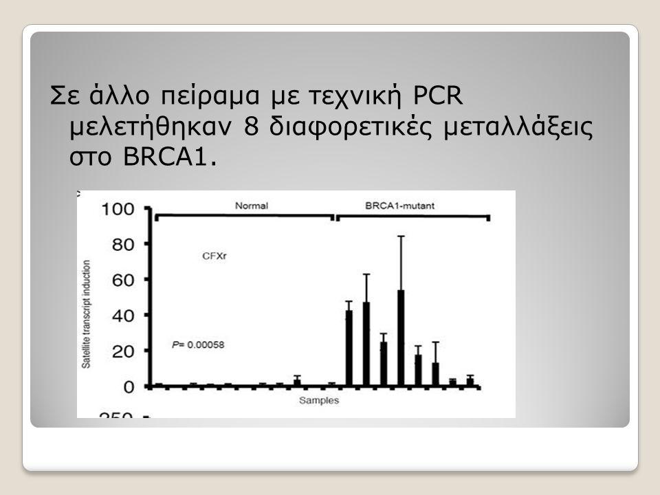 Σε άλλο πείραμα με τεχνική PCR μελετήθηκαν 8 διαφορετικές μεταλλάξεις στο BRCA1.