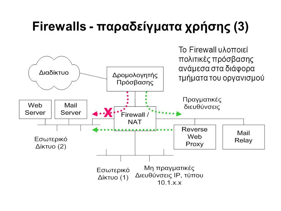 Firewalls - παραδείγματα χρήσης (3) Το Firewall υλοποιεί πολιτικές πρόσβασης ανάμεσα στα διάφορα τμήματα του οργανισμού X