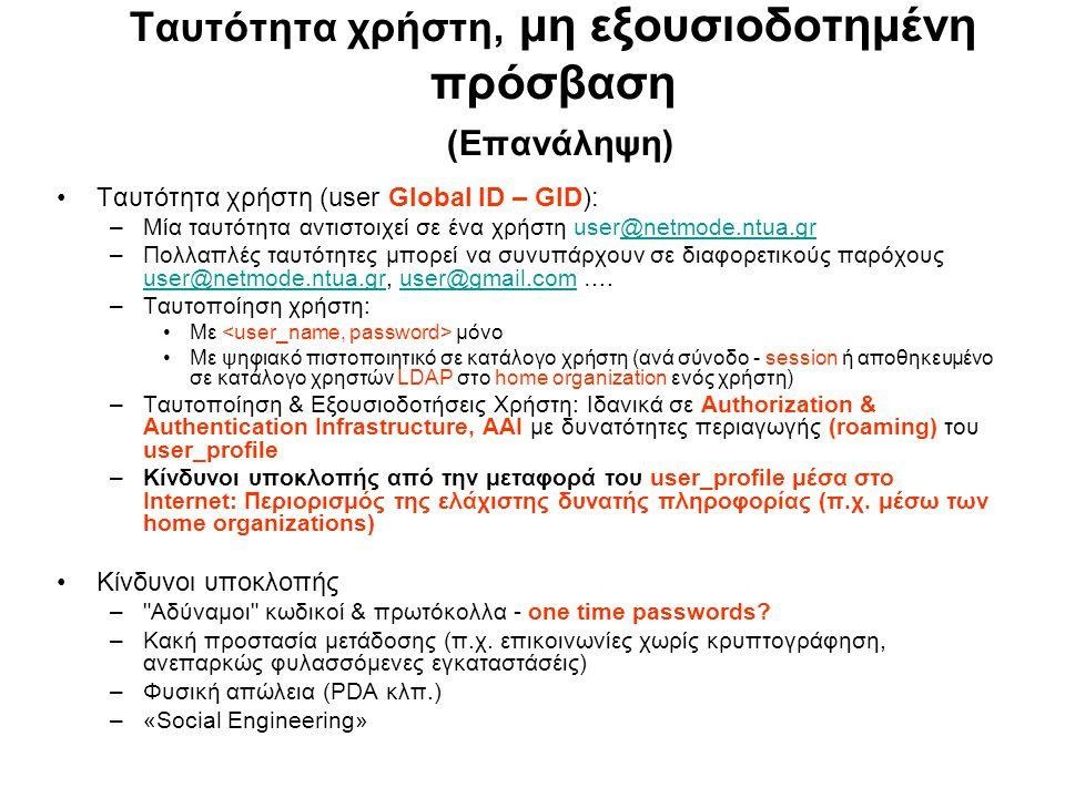 Ταυτότητα χρήστη, μη εξουσιοδοτημένη πρόσβαση (Επανάληψη) Ταυτότητα χρήστη (user Global ID – GID): –Μία ταυτότητα αντιστοιχεί σε ένα χρήστη user@netmode.ntua.gr@netmode.ntua.gr –Πολλαπλές ταυτότητες μπορεί να συνυπάρχουν σε διαφορετικούς παρόχους user@netmode.ntua.gr, user@gmail.com ….