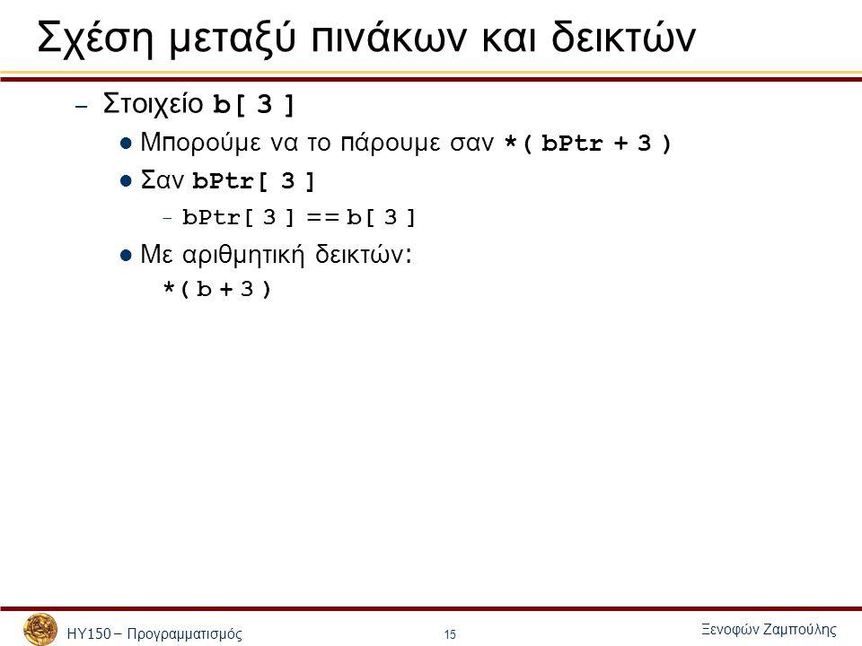 ΗΥ 150 – Προγραμματισμός Ξενοφών Ζαμπούλης 15 Σχέση μεταξύ π ινάκων και δεικτών – Στοιχείο b[ 3 ] Μ π ορούμε να το π άρουμε σαν *( bPtr + 3 ) Σαν bPtr