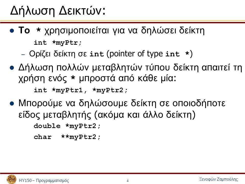 ΗΥ 150 – Προγραμματισμός Ξενοφών Ζαμπούλης 4 Δήλωση Δεικτών : Το * χρησιμο π οιείται για να δηλώσει δείκτη int *myPtr; – Ορίζει δείκτη σε int (pointer