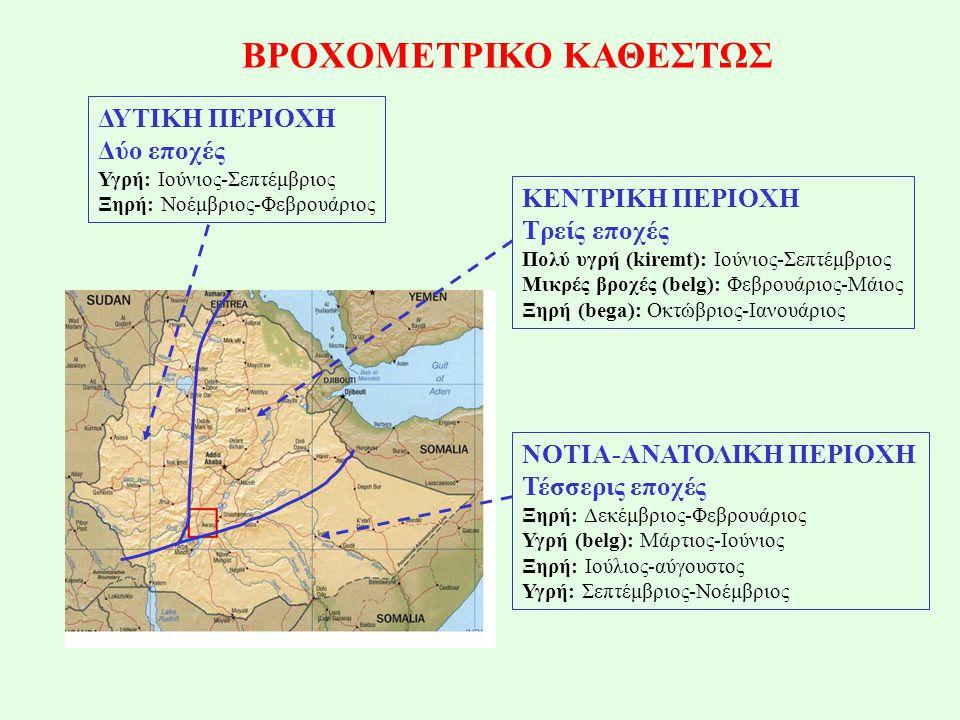 ΒΡΟΧΟΜΕΤΡΙΚΟ ΚΑΘΕΣΤΩΣ ΔΥΤΙΚΗ ΠΕΡΙΟΧΗ Δύο εποχές Υγρή: Ιούνιος-Σεπτέμβριος Ξηρή: Νοέμβριος-Φεβρουάριος ΚΕΝΤΡΙΚΗ ΠΕΡΙΟΧΗ Τρείς εποχές Πολύ υγρή (kiremt): Ιούνιος-Σεπτέμβριος Μικρές βροχές (belg): Φεβρουάριος-Μάιος Ξηρή (bega): Οκτώβριος-Ιανουάριος ΝΟΤΙΑ-ΑΝΑΤΟΛΙΚΗ ΠΕΡΙΟΧΗ Τέσσερις εποχές Ξηρή: Δεκέμβριος-Φεβρουάριος Υγρή (belg): Μάρτιος-Ιούνιος Ξηρή: Ιούλιος-αύγουστος Υγρή: Σεπτέμβριος-Νοέμβριος