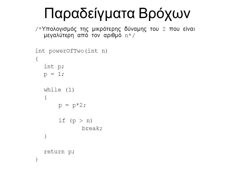 Παραδείγματα Bρόχων /* Υπολογισμός της μικρότερης δύναμης του 2 που είναι μεγαλύτερη από τον αριθμό n*/ int powerOfTwo(int n) { int p; p = 1; while (1) { p = p*2; if (p > n) break; } return p; }