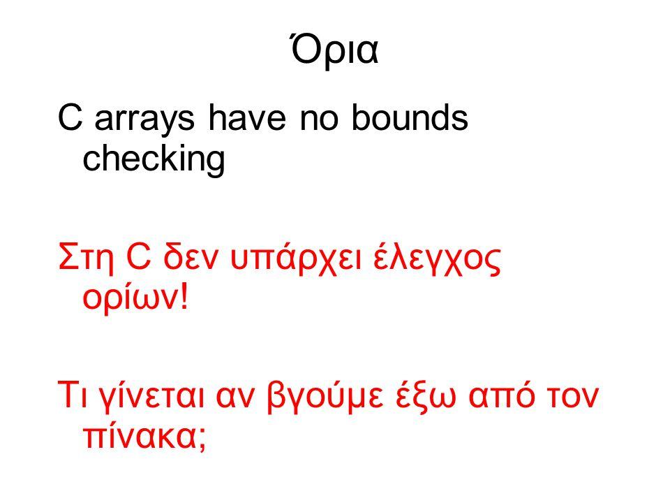 Όρια C arrays have no bounds checking Στη C δεν υπάρχει έλεγχος ορίων.