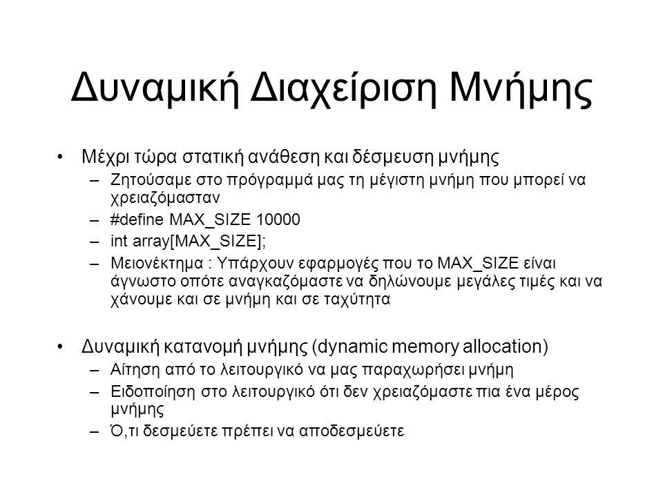 Δυναμική Διαχείριση Μνήμης Μέχρι τώρα στατική ανάθεση και δέσμευση μνήμης –Ζητούσαμε στο πρόγραμμά μας τη μέγιστη μνήμη που μπορεί να χρειαζόμασταν –#define MAX_SIZE10000 –int array[MAX_SIZE]; –Μειονέκτημα : Υπάρχουν εφαρμογές που το MAX_SIZE είναι άγνωστο οπότε αναγκαζόμαστε να δηλώνουμε μεγάλες τιμές και να χάνουμε και σε μνήμη και σε ταχύτητα Δυναμική κατανομή μνήμης (dynamic memory allocation) –Αίτηση από το λειτουργικό να μας παραχωρήσει μνήμη –Ειδοποίηση στο λειτουργικό ότι δεν χρειαζόμαστε πια ένα μέρος μνήμης –Ό,τι δεσμεύετε πρέπει να αποδεσμεύετε