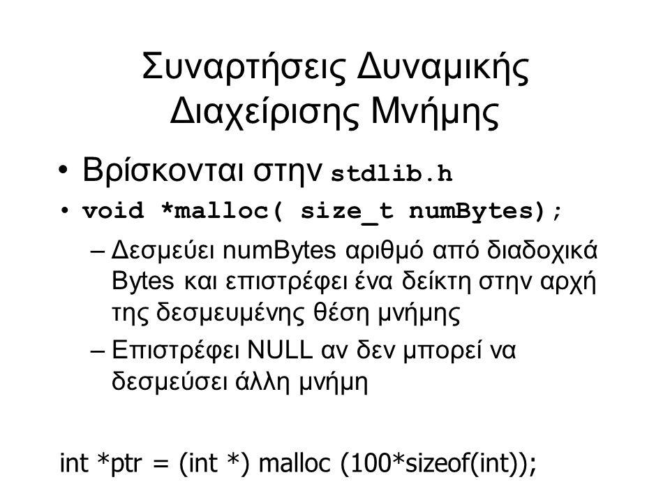 Συναρτήσεις Δυναμικής Διαχείρισης Μνήμης Βρίσκονται στην stdlib.h void *malloc( size_t numBytes); – Δεσμεύει numBytes αριθμό από διαδοχικά Bytes και επιστρέφει ένα δείκτη στην αρχή της δεσμευμένης θέση μνήμης – Επιστρέφει NULL αν δεν μπορεί να δεσμεύσει άλλη μνήμη int *ptr = (int *) malloc (100*sizeof(int));