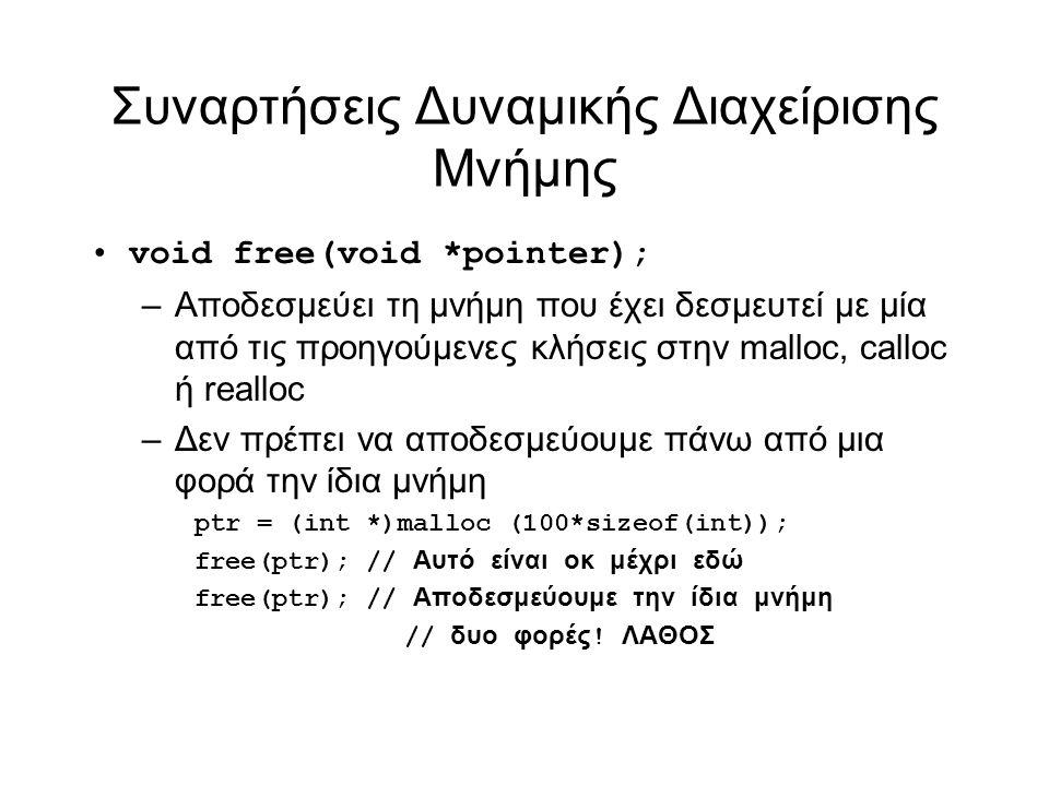 Συναρτήσεις Δυναμικής Διαχείρισης Μνήμης void free(void *pointer); –Αποδεσμεύει τη μνήμη που έχει δεσμευτεί με μία από τις προηγούμενες κλήσεις στην malloc, calloc ή realloc –Δεν πρέπει να αποδεσμεύουμε πάνω από μια φορά την ίδια μνήμη ptr = (int *)malloc (100*sizeof(int)); free(ptr); // Αυτό είναι οκ μέχρι εδώ free(ptr); // Αποδεσμεύουμε την ίδια μνήμη // δυο φορές .