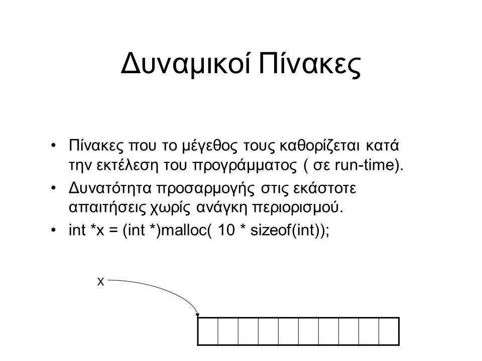Δυναμικοί Πίνακες Πίνακες που το μέγεθος τους καθορίζεται κατά την εκτέλεση του προγράμματος ( σε run-time).