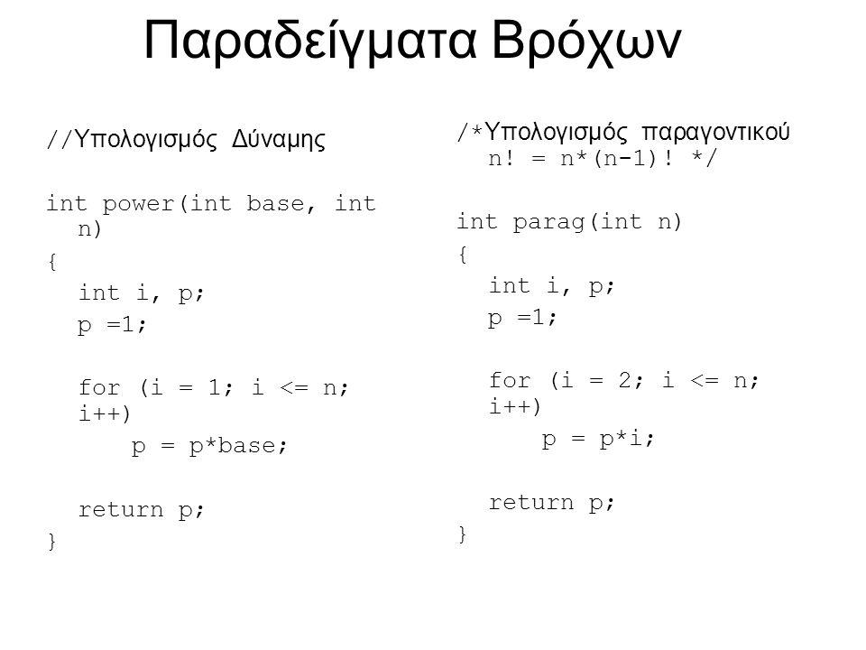 Παραδείγματα Bρόχων // Υπολογισμός Δύναμης int power(int base, int n) { int i, p; p =1; for (i = 1; i <= n; i++) p = p*base; return p; } /* Υπολογισμός παραγοντικού n.