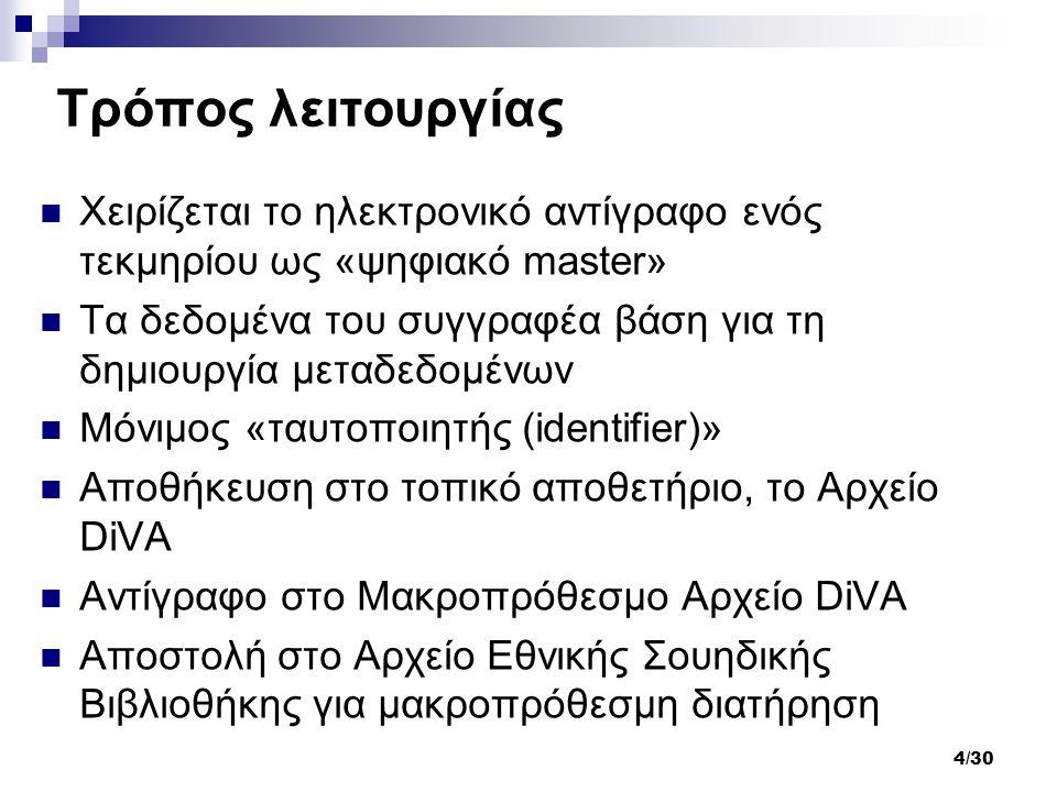 4/30 Τρόπος λειτουργίας Χειρίζεται το ηλεκτρονικό αντίγραφο ενός τεκμηρίου ως «ψηφιακό master» Τα δεδομένα του συγγραφέα βάση για τη δημιουργία μεταδεδομένων Μόνιμος «ταυτοποιητής (identifier)» Αποθήκευση στο τοπικό αποθετήριο, το Αρχείο DiVA Αντίγραφο στο Μακροπρόθεσμο Αρχείο DiVA Αποστολή στο Αρχείο Εθνικής Σουηδικής Βιβλιοθήκης για μακροπρόθεσμη διατήρηση