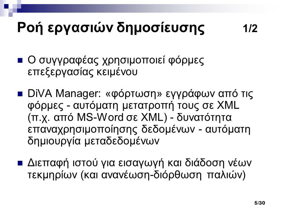 5/30 Ροή εργασιών δημοσίευσης 1/2 Ο συγγραφέας χρησιμοποιεί φόρμες επεξεργασίας κειμένου DiVA Manager: «φόρτωση» εγγράφων από τις φόρμες - αυτόματη με