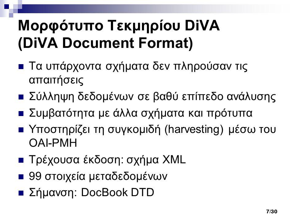 7/30 Μορφότυπο Τεκμηρίου DiVA (DiVA Document Format) Τα υπάρχοντα σχήματα δεν πληρούσαν τις απαιτήσεις Σύλληψη δεδομένων σε βαθύ επίπεδο ανάλυσης Συμβατότητα με άλλα σχήματα και πρότυπα Υποστηρίζει τη συγκομιδή (harvesting) μέσω του OAI-PMH Τρέχουσα έκδοση: σχήμα XML 99 στοιχεία μεταδεδομένων Σήμανση: DocBook DTD