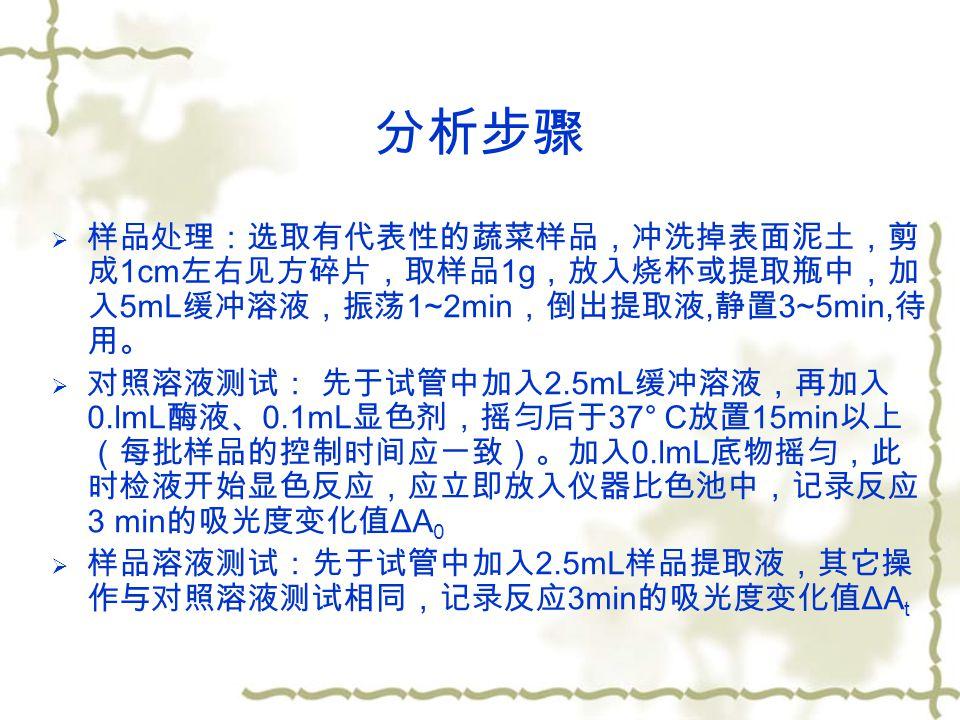 分析步骤  样品处理:选取有代表性的蔬菜样品,冲洗掉表面泥土,剪 成 1cm 左右见方碎片,取样品 1g ,放入烧杯或提取瓶中,加 入 5mL 缓冲溶液,振荡 1~2min ,倒出提取液, 静置 3~5min, 待 用。  对照溶液测试: 先于试管中加入 2.5mL 缓冲溶液,再加入 0.lmL 酶液、 0.1mL 显色剂,摇匀后于 37° C 放置 15min 以上 (每批样品的控制时间应一致)。加入 0.lmL 底物摇匀,此 时检液开始显色反应,应立即放入仪器比色池中,记录反应 3 min 的吸光度变化值 ΔA 0  样品溶液测试:先于试管中加入 2.5mL 样品提取液,其它操 作与对照溶液测试相同,记录反应 3min 的吸光度变化值 ΔA t