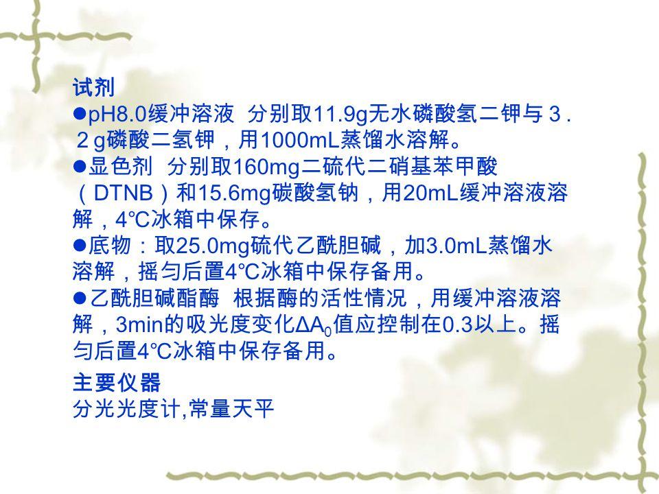 试剂 pH8.0 缓冲溶液 分别取 11.9g 无水磷酸氢二钾与3.