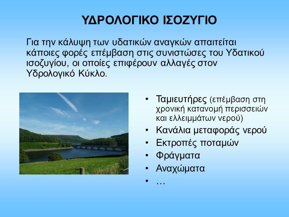ΥΔΡΟΛΟΓΙΚΟ ΙΣΟΖΥΓΙΟ Για την κάλυψη των υδατικών αναγκών απαιτείται κάποιες φορές επέμβαση στις συνιστώσες του Υδατικού ισοζυγίου, οι οποίες επιφέρουν αλλαγές στον Υδρολογικό Κύκλο.