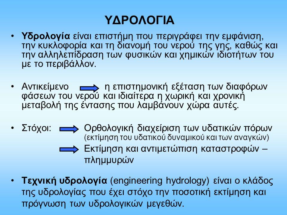 ΥΔΡΟΛΟΓΙΑ Υδρολογία είναι επιστήμη που περιγράφει την εμφάνιση, την κυκλοφορία και τη διανομή του νερού της γης, καθώς και την αλληλεπίδραση των φυσικ