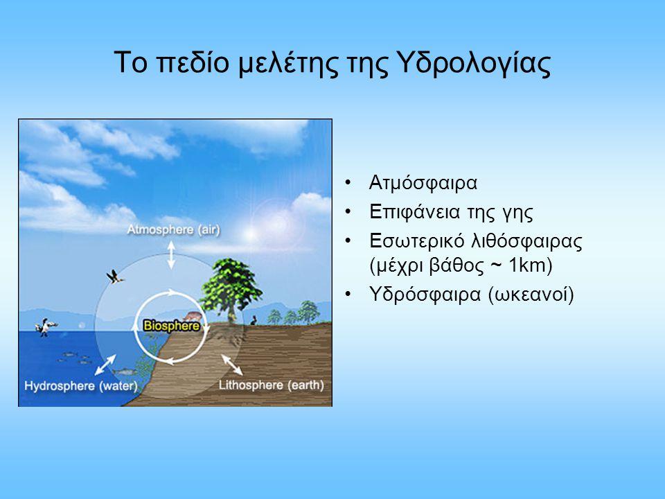 Το πεδίο μελέτης της Υδρολογίας Ατμόσφαιρα Επιφάνεια της γης Εσωτερικό λιθόσφαιρας (μέχρι βάθος ~ 1km) Υδρόσφαιρα (ωκεανοί)