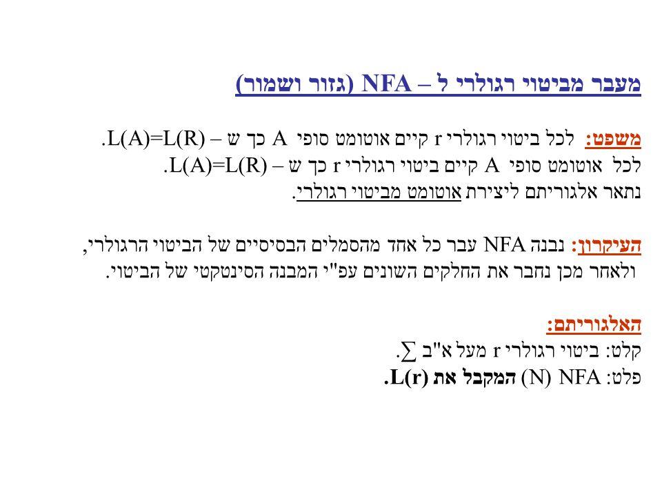 עבור ε בנה את ה - NFA הבא: עבור a בנה את ה - NFA הבא: ε a