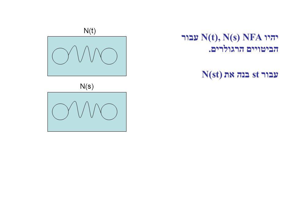יהיו N(t), N(s) NFA עבור הביטויים הרגולרים. עבור st בנה את N(st) N(t) N(s)