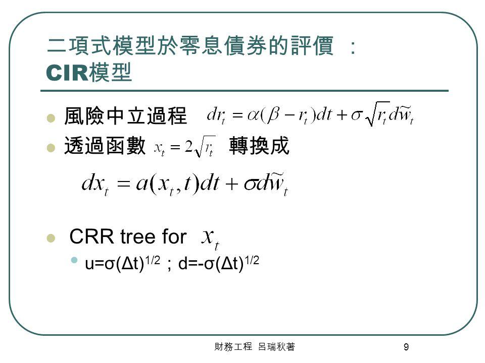 財務工程 呂瑞秋著 10 二項式模型於零息債券的評價 : CIR 模型 (Cont) 透過函數 轉換 P= r t+iΔt =( x t+iΔt ) 2 /4 r+=r t+iΔt =( x t+iΔt +u) 2 /4 r-=r t+iΔt =( x t+iΔt +d) 2 /4