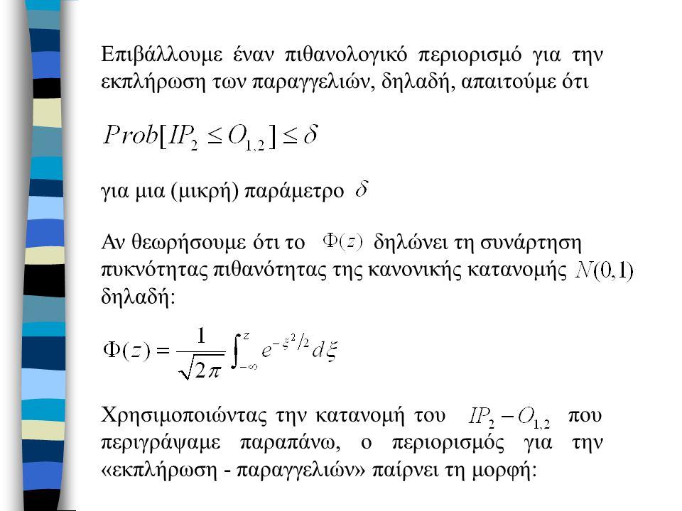 Επιβάλλουμε έναν πιθανολογικό περιορισμό για την εκπλήρωση των παραγγελιών, δηλαδή, απαιτούμε ότι για μια (μικρή) παράμετρο Χρησιμοποιώντας την κατανομή του που περιγράψαμε παραπάνω, ο περιορισμός για την «εκπλήρωση - παραγγελιών» παίρνει τη μορφή: Αν θεωρήσουμε ότι το δηλώνει τη συνάρτηση πυκνότητας πιθανότητας της κανονικής κατανομής δηλαδή: