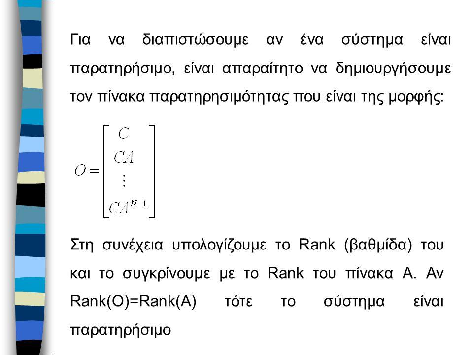 Για να διαπιστώσουμε αν ένα σύστημα είναι παρατηρήσιμο, είναι απαραίτητο να δημιουργήσουμε τον πίνακα παρατηρησιμότητας που είναι της μορφής: Στη συνέχεια υπολογίζουμε το Rank (βαθμίδα) του και το συγκρίνουμε με το Rank του πίνακα Α.