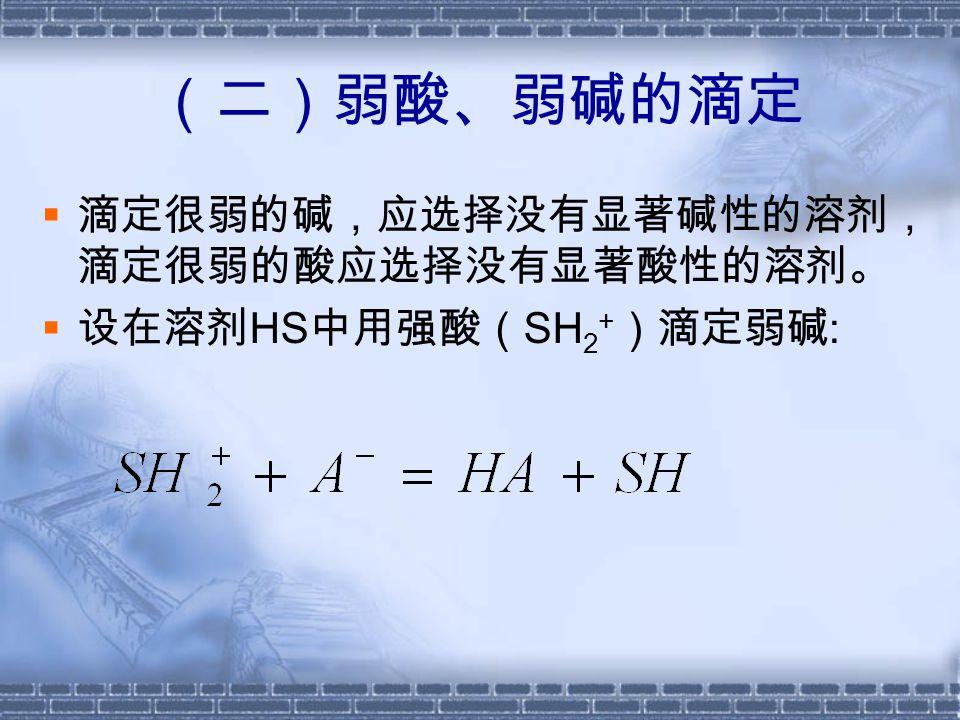  Ks 越小,反应越完全  选用 Ks 较小的溶剂,可 以减小滴定的误差(假 定其它条件不变)
