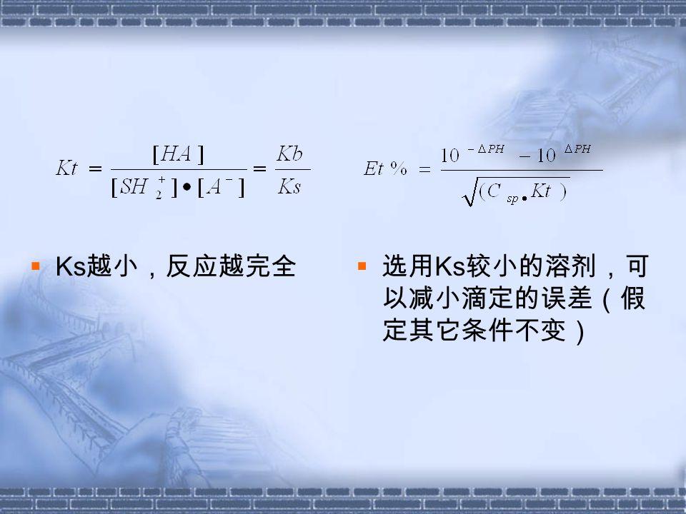 三、常用溶剂,滴定剂及终点指示  溶剂  滴定弱碱时常用 HAc 作溶剂  滴定弱酸时常用的碱性溶剂是乙二胺, N , N—— 二甲基甲酰胺 。  无水甲醇和无水乙醇是普遍采用的中性溶 剂。